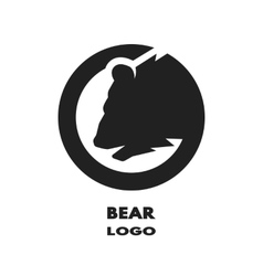 Silhouette of the bear monochrome logo vector image vector image