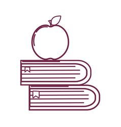 Silhouette school books with apple fruit icon vector