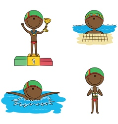 swimmer boys vector image vector image