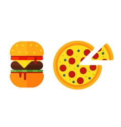 colorful sandwich cartoon fast food icons isolated vector image vector image