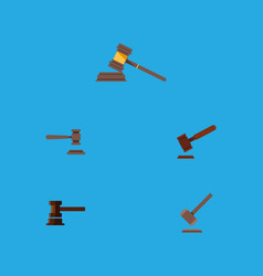 Flat icon lawyer set of justice court tribunal vector