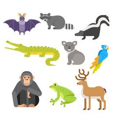 flat style set of animals crocodile raccoon monkey vector image vector image
