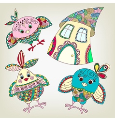 Funny birds and house in ethnic style vector image