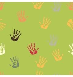 Hand palm ink splash print seamless background vector image vector image