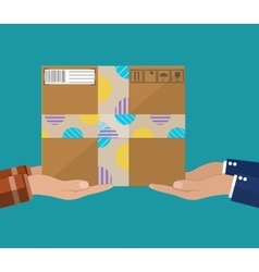 Hands with postal cardboard box vector image vector image