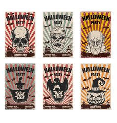set of halloween banner templates monster vector image vector image