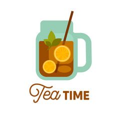 tea time cold drink with lemon and herbs in vector image vector image