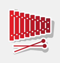xylophone sign new year reddish icon with vector image