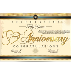 50 years anniversary diploma vector image vector image