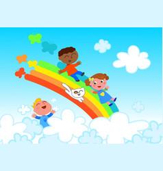 Happy children on rainbow vector