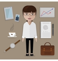 Office worker and business things accessories set vector image vector image