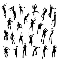 people figures in motion dancing people set cute vector image vector image