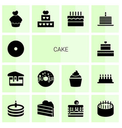 14 cake icons vector image