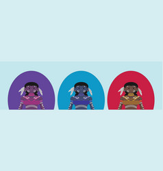 African people in tribal clothing cartoon icon vector