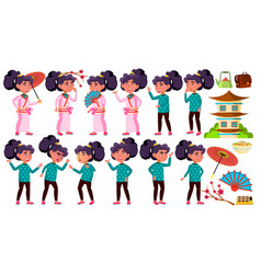 asian girl kid poses set primary school vector image