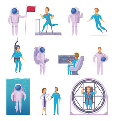 astronaut cartoon character icons set vector image