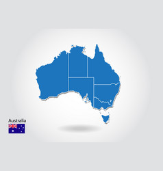 australia map design with 3d style blue australia vector image