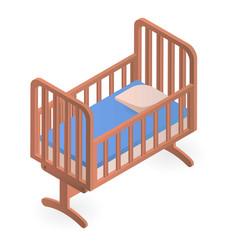 Baby crib icon isometric style vector