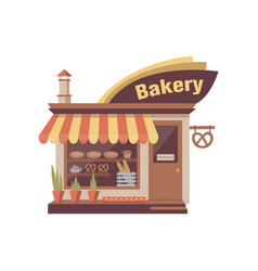 Bakery store building facade with signboard and vector