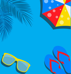 beach background with flip flop palm umbrella and vector image