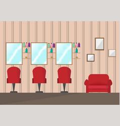 beauty salon interior designbarber shop in flat vector image