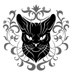 Black cat face decoration vector