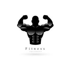 bodybuilder fitness model logo company vector image