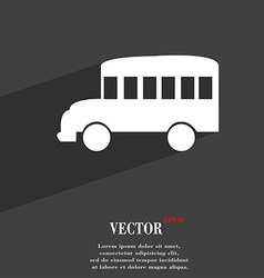Bus symbol Flat modern web design with long shadow vector image