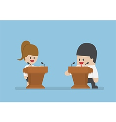 Businessman debating on the podium vector