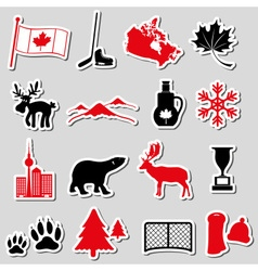Canada country theme symbols stickers set eps10 vector