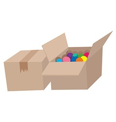 Cardboard boxes full of balls vector