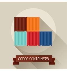Cargo containers icon on background in flat design vector image vector image