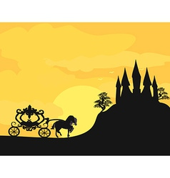 Carriage at sunset Silhouette of a horse carriage vector image