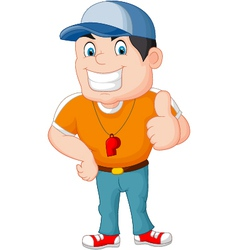 Cartoon coach giving a thumbs up vector image