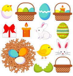 cartoon easter icon set 13 elements vector image