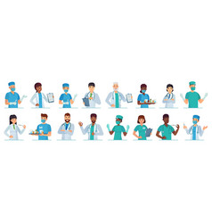 Cartoon medical workers doctor portrait medical vector