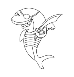 Cartoon pirate shark vector image