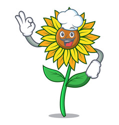 chef sunflower character cartoon style vector image