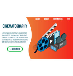 cinematography concept banner isometric style vector image