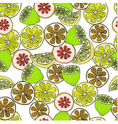 Citrus slices seamless pattern vector
