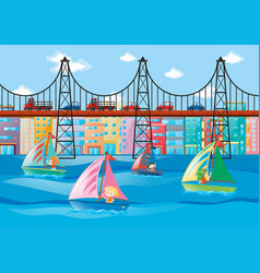 City scene with kids sailing and cars on bridge vector