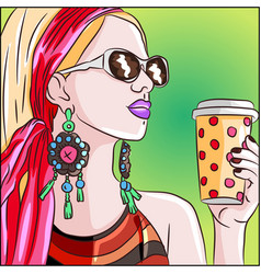 coffee woman with a pink scarf on her head vector image