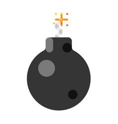 Colorful cartoon bomb with burning wick explosion vector