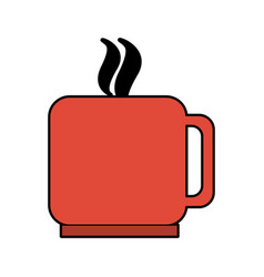 Colorful silhouette mug of coffee with steam vector