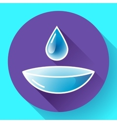 Contact lense with water drop icon Flat design vector