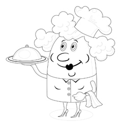 Cook woman with tray contour vector