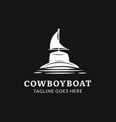 cowboyboat concept monogram logo template vector image