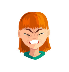 Crying redhead girl female emotional face avatar vector