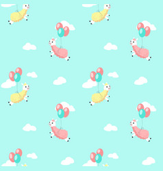 Cute alpaca with balloons seamless pattern vector