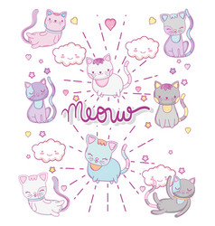 Cute cats with kawaii clouds and herts vector